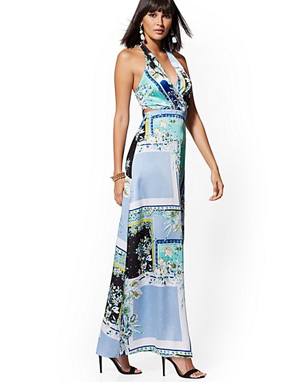 Blue Floral Cutout Halter Maxi Dress - New York & Company