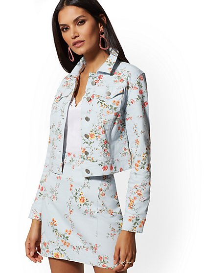 Blue Floral Denim Jacket - New York & Company