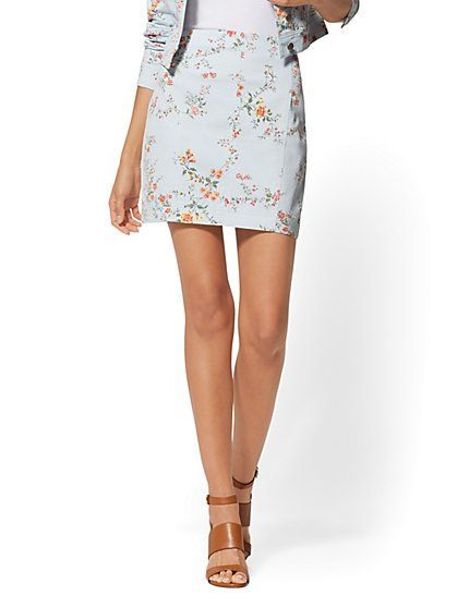 Blue Floral Denim Mini Skirt - New York & Company