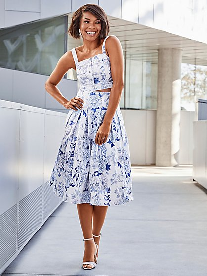809bc7ff8 Blue Floral Pleated Skirt - 7th Avenue - New York & Company ...