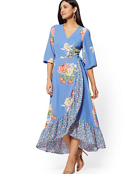 Blue Floral Wrap Maxi Dress - New York & Company