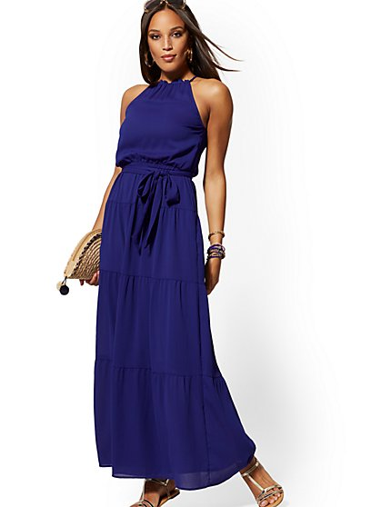 Blue Halter Maxi Dress - New York & Company