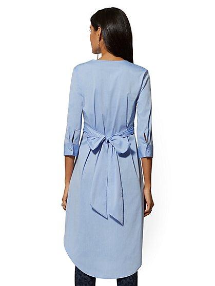cdfebee1445 ... Blue Hi-Lo Poplin Tunic Shirt - 7th Avenue - New York & Company