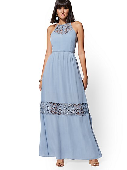 Blue Lace-Trim Maxi Halter Dress - New York & Company