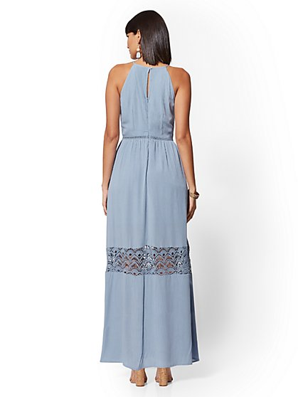 f802a2c6244 ... Blue Lace-Trim Maxi Halter Dress - New York   Company