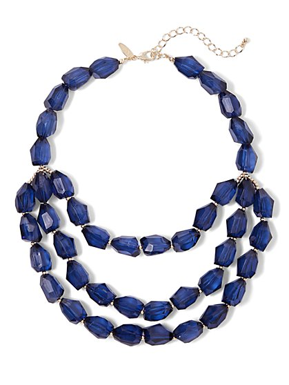 Blue Layered Faux-Stone Necklace - New York & Company