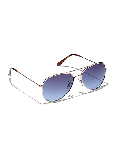 Blue Lense Aviator Sunglasses - New York & Company