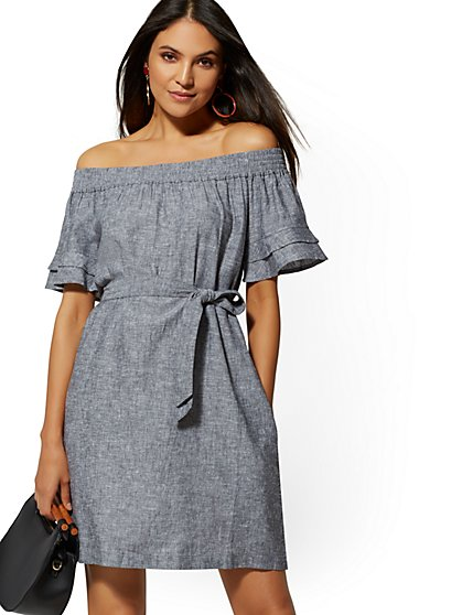 Blue Linen Off-The-Shoulder Shift Dress - Soho Street - New York & Company