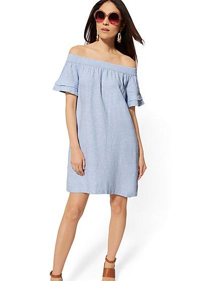 c876dac96630 Blue Linen Off-The-Shoulder Shift Dress - Soho Street - New York ...