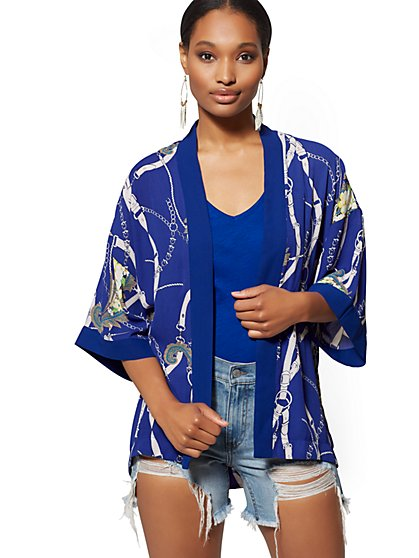Blue Mixed-Print Belted Kimono Jacket - New York & Company