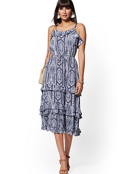 Blue Mixed-Print Tiered Maxi Dress - New York & Company