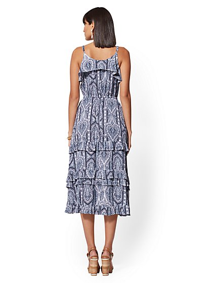 c34513a30f1 ... Blue Mixed-Print Tiered Maxi Dress - New York   Company