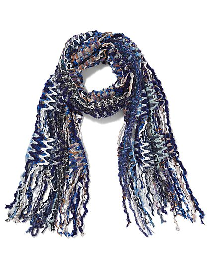 Blue Multi Yarn Fringe Scarf - Sweet Pea - New York & Company