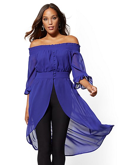 Blue Off-The-Shoulder Hi-Lo Blouse - New York & Company