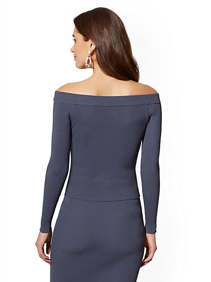 ... Blue Off-The-Shoulder Ribbed-Knit Sweater - New York   Company ... 884fc7282
