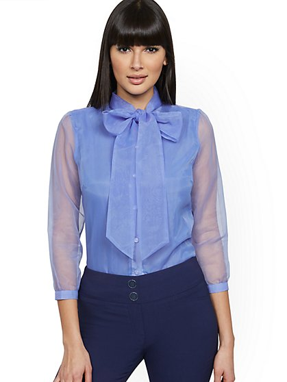 Blue Organza Bow Blouse - New York & Company