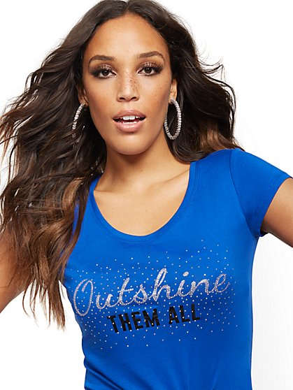 "Blue ""Outshine Them All"" Graphic Tee - New York & Company"