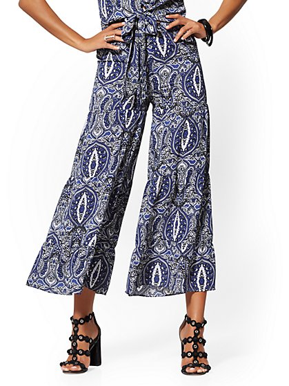 Blue Paisley Pull-On Pant - New York & Company