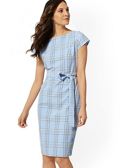 Blue Plaid Belted Sheath Dress - New York & Company