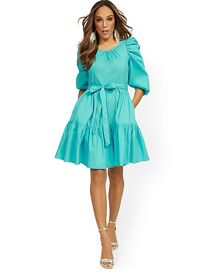 Blue Poplin Tiered Bow-Front Dress - New York & Company
