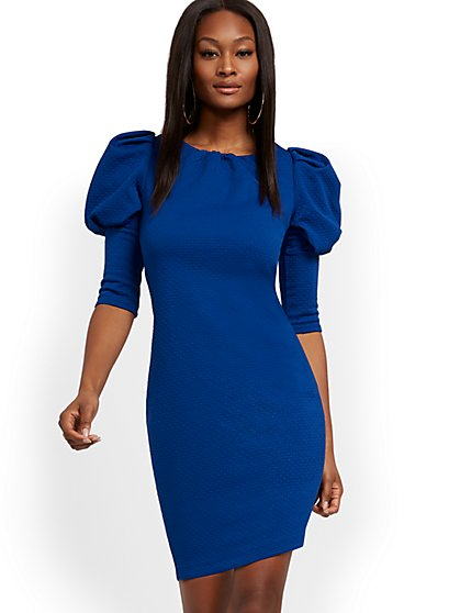 Blue Puff-Sleeve Shift Dress - New York & Company
