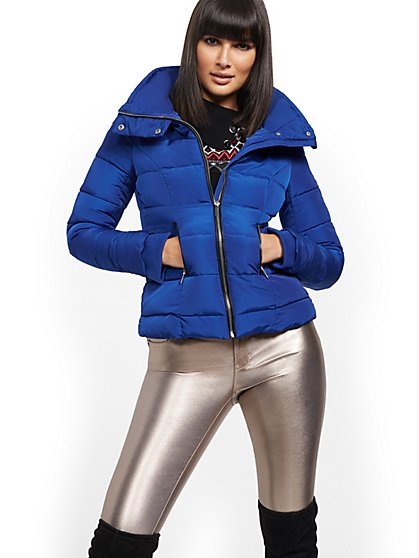Blue Puffer Jacket - New York & Company