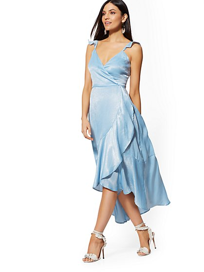 Blue Ruffle Wrap Dress - New York & Company