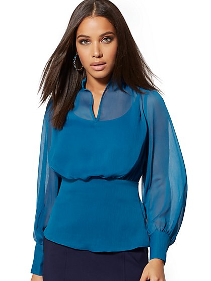 Blue Split-Neck Blouse - New York & Company