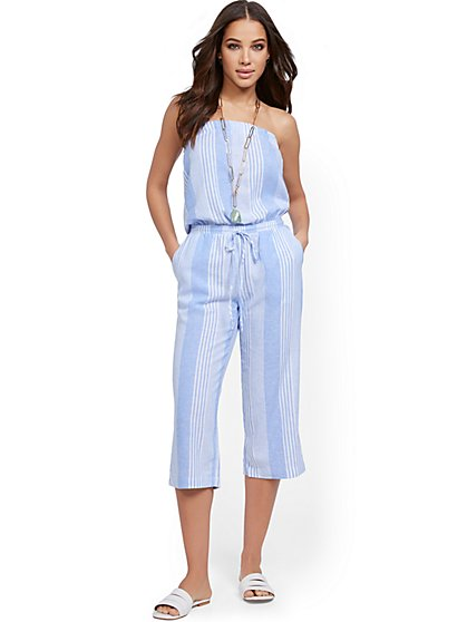 Blue Stripe Linen Jumpsuit - New York & Company
