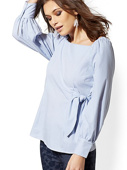957a4fdff776ab Blue Stripe Off-The-Shoulder Poplin Shirt - New York   Company ...