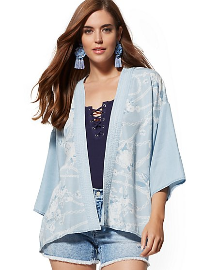 Blue Ultra-Soft Chambray Kimono Jacket - New York & Company