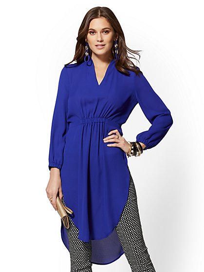 Blue V-Neck Tunic Blouse - New York & Company