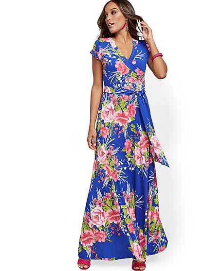 Blue Wrap Maxi Dress - New York & Company