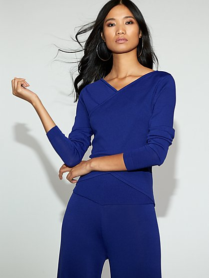 Blue Wrap Sweater - Gabrielle Union Collection - New York & Company