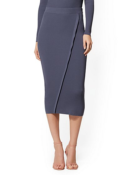 Blue Wrap Sweater Skirt - New York & Company