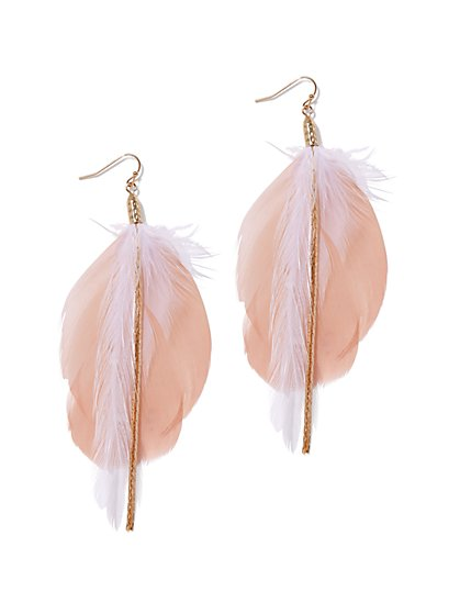 Blush Feather Drop Earring - New York & Company