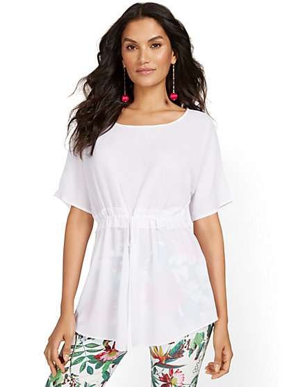 Boat-Neck Short-Sleeve Drawstring Top - New York & Company