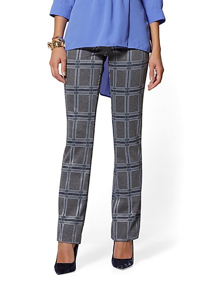 Bootcut Pull-On Pant - Signature Fit - Plaid - 7th Avenue - New York & Company