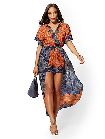 Border-Print Maxi Romper - New York & Company
