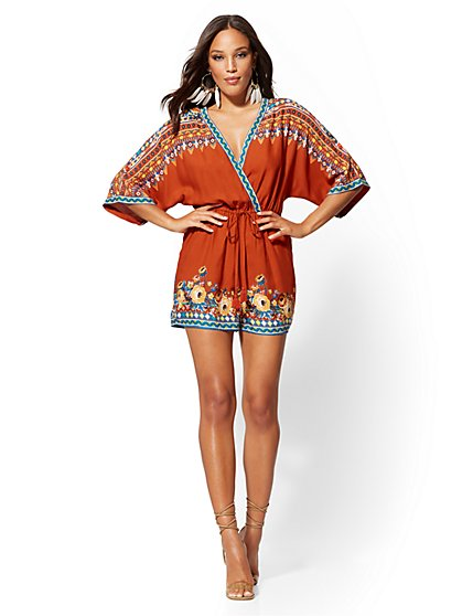 Border-Print V-Neck Wrap Romper - New York & Company
