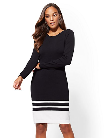 Border Stripe Sweater Sheath Dress - New York & Company