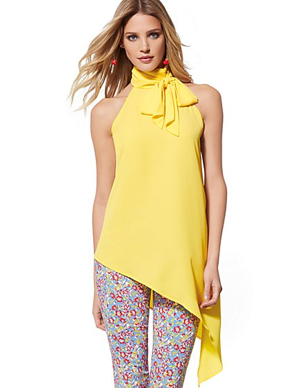 Bow-Accent Asymmetrical Halter Blouse - New York & Company