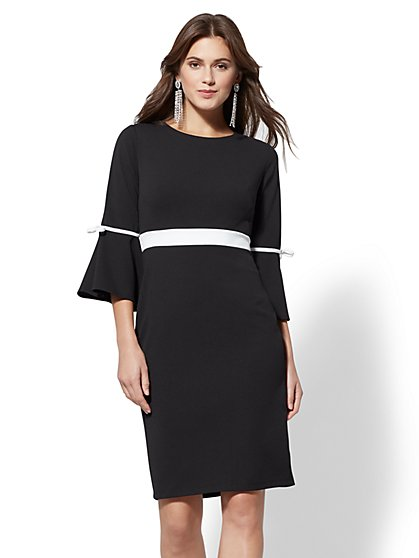 Bow-Accent Bell- Sleeve Sheath Dress - New York & Company