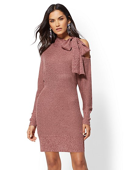 Bow-Accent Cold-Shoulder Sweater Dress - New York & Company