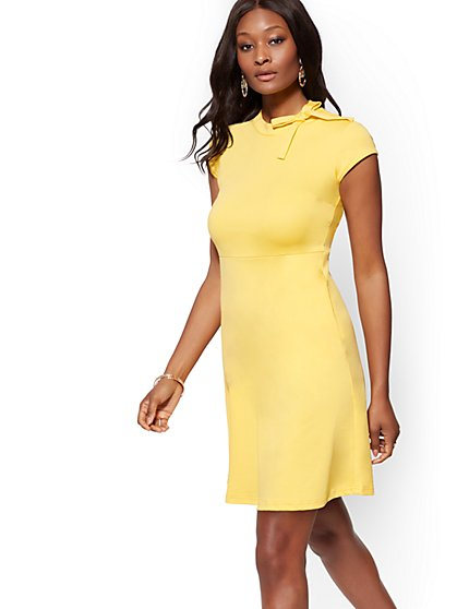 Bow-Accent Cotton Flare Dress - New York & Company