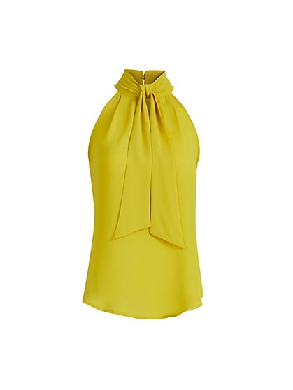 Bow-Accent Halter Blouse - 7th Avenue - New York & Company