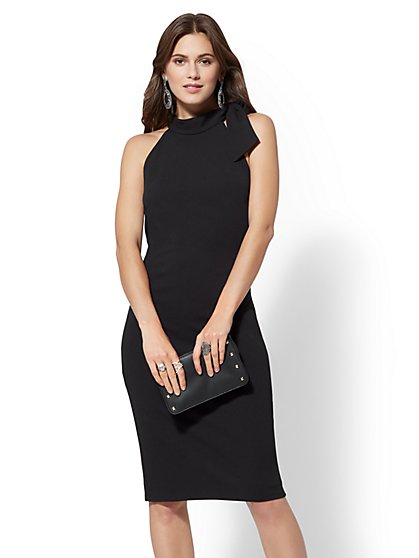 Bow-Accent Halter Sheath Dress - 7th Avenue - New York & Company