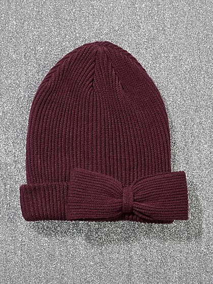Bow-Accent Knit Hat - New York & Company