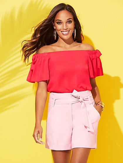 Bow-Accent Off-The-Shoulder Blouse - Sweet Pea - New York & Company