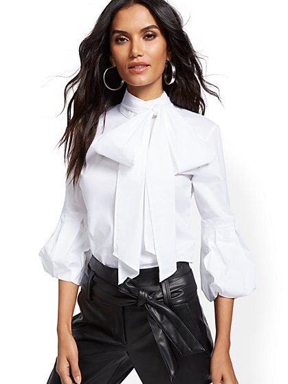 Bow-Accent Poplin Blouse - 7th Avenue - New York & Company
